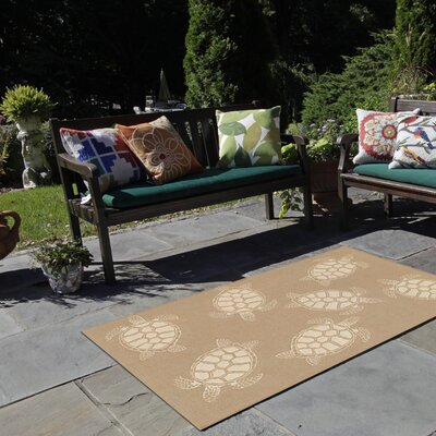 Roselawn Seaturtle Almond/Camel Indoor/Outdoor Area Rug Rug Size: 410 x 76