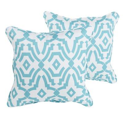 Audina Indoor/Outdoor Throw Pillow Size: 18 H x 18 W x 6 D, Color: Aqua