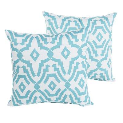 Audina Geometric Indoor/Outdoor Throw Pillow Size: 22 H x 22 W x 6 D, Color: Aqua