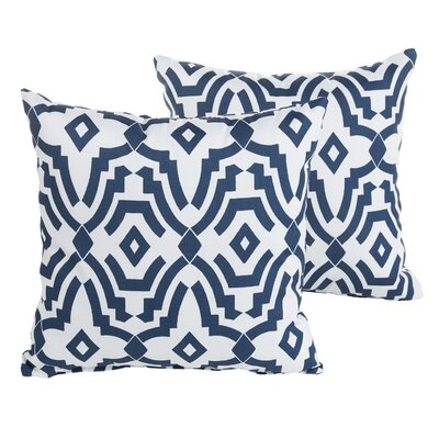Audina Geometric Indoor/Outdoor Throw Pillow Size: 22 H x 22 W x 6 D, Color: Navy