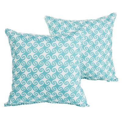 Estelle Waves Square Indoor/Outdoor Throw Pillow Set Size: 18 H x 18 W x 6 D, Color: Aqua