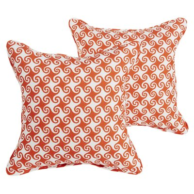 Estelle Waves Square Indoor/Outdoor Throw Pillow Set Size: 22 H x 22 W x 6 D, Color: Orange