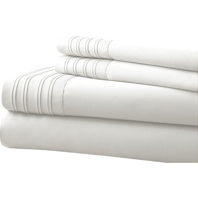 Holmes 1000 Thread Count 4 Piece Sheet Set Size: King, Color: White
