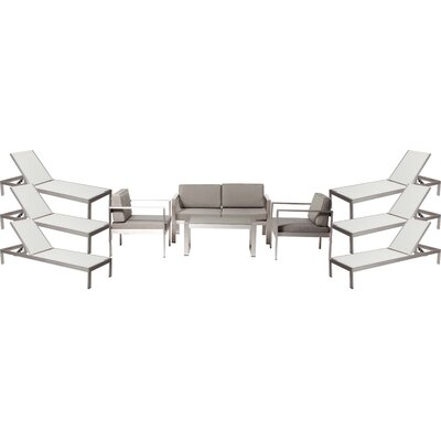 Landenberg Patio 10 Piece Deep Seating Group with Cushion Frame Finish: White