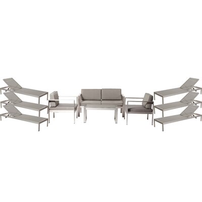 Hillwood Patio 10 Piece Deep Seating Group with Cushion Frame Finish: Gray