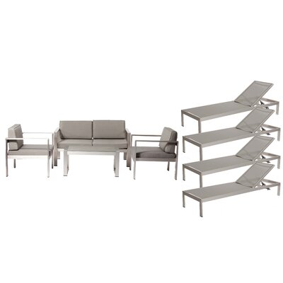 Hillwood Patio 8 Piece Deep Seating Group with Cushion Frame Finish: Gray