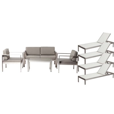 Hillwood Patio 8 Piece Deep Seating Group with Cushion Frame Finish: White/Gray