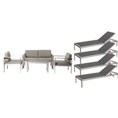 Hillwood Patio 8 Piece Deep Seating Group with Cushion Frame Finish: Black/Gray
