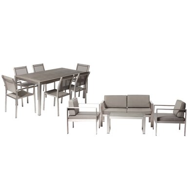 Hillwood Patio 11 Piece Deep Seating Group with Cushion Frame Finish: Gray