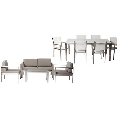 Hillwood Patio 11 Piece Deep Seating Group with Cushion Frame Finish: White/Gray