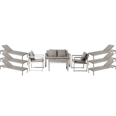 Hampshire Patio 10 Piece Deep Seating Group with Cushion Frame Finish: Gray