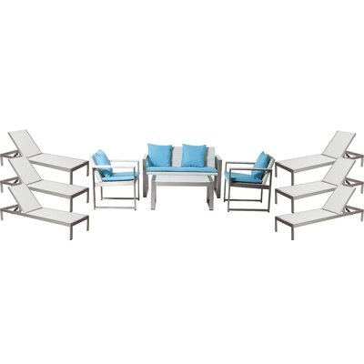 Hampshire Patio 10 Piece Deep Seating Group with Cushion Frame Finish: White