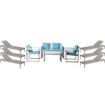 Hartly Patio 10 Piece Deep Seating Group with Cushion Frame Finish: Gray/White