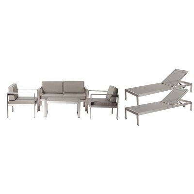 Hillwood Patio 6 Piece Deep Seating Group with Cushion Frame Finish: Gray