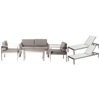 Landenberg Patio 6 Piece Deep Seating Group with Cushion Frame Finish: White