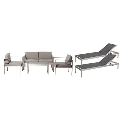 Hillwood Patio 6 Piece Deep Seating Group with Cushion Frame Finish: Black