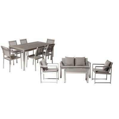 Hartly Patio 11 Piece Deep Seating Group with Cushion Frame Finish: Gray