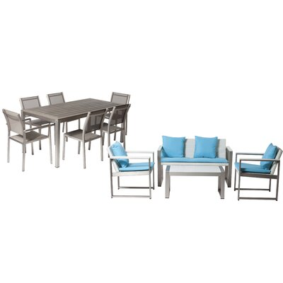Hampshire Patio 11 Piece Deep Seating Group with Cushion Frame Finish: Gray/White
