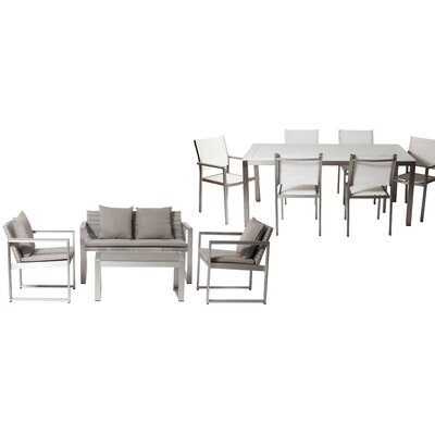 Hartly Patio 11 Piece Deep Seating Group with Cushion Frame Finish: White/Gray