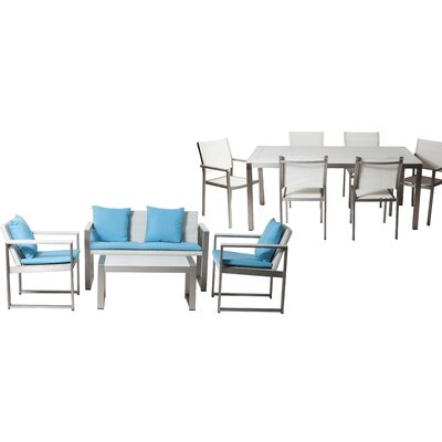 Hampshire Patio 11 Piece Deep Seating Group with Cushion Frame Finish: White