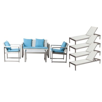 Hartly Patio 8 Piece Deep Seating Group with Cushion Frame Finish: White
