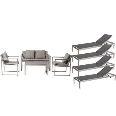 Hampshire Patio 8 Piece Deep Seating Group with Cushion Frame Finish: Black/White