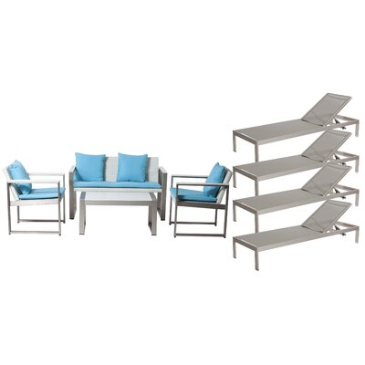Hampshire Patio 8 Piece Deep Seating Group with Cushion Frame Finish: Gray/White