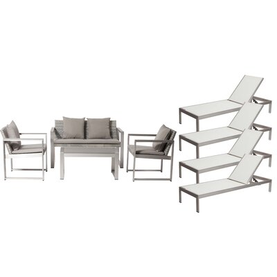 Hartly Patio 8 Piece Deep Seating Group with Cushion Frame Finish: White/Gray