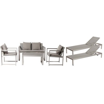 Hampshire Patio 6 Piece Deep Seating Group with Cushion Frame Finish: Gray