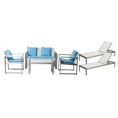 Hartly Patio 6 Piece Deep Seating Group with Cushion Frame Finish: White