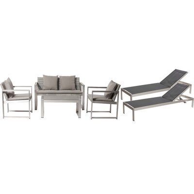 Hampshire Patio 6 Piece Deep Seating Group with Cushion Frame Finish: Black/Gray