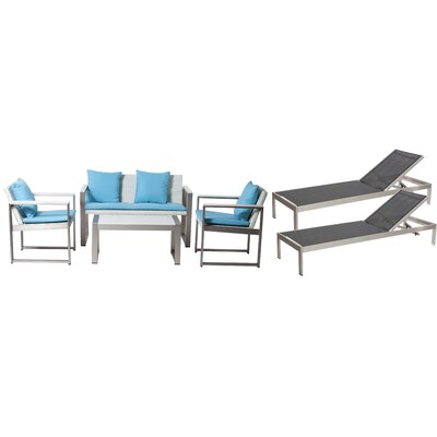 Hampshire Patio 6 Piece Deep Seating Group with Cushion Frame Finish: Black/White