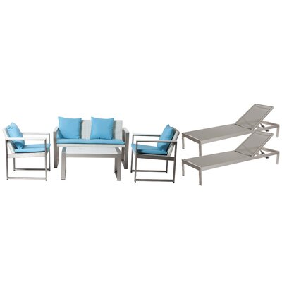 Hampshire Patio 6 Piece Deep Seating Group with Cushion Frame Finish: Gray/White