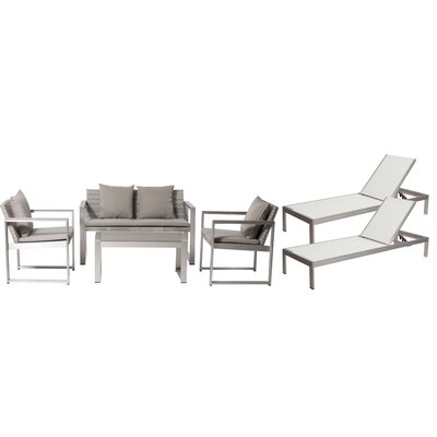 Hampshire Patio 6 Piece Deep Seating Group with Cushion Frame Finish: White/Gray