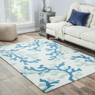Giada Hand-Tufted Green/Beige Area Rug Rug Size: Rectangle 36 x 56