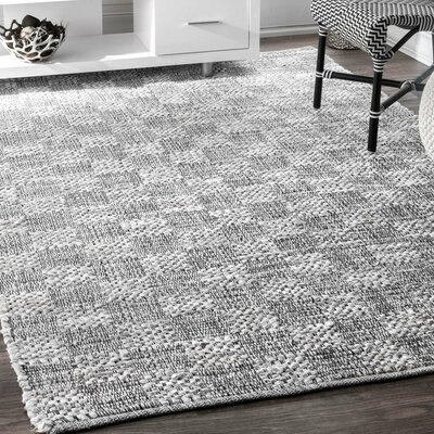 Burley White/Gray Area Rug Rug Size: Rectangle 4 x 6
