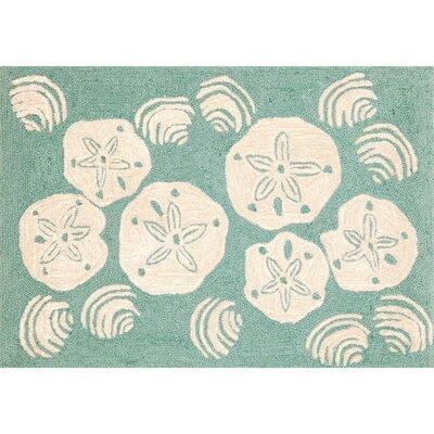 Shediac Aqua Shell Toss Area Rug Rug Size: 26 x 4
