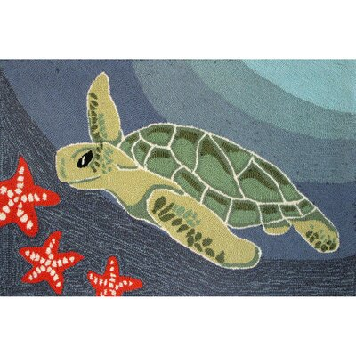 Zilla� Blue Ocean Sea Turtle Indoor/Outdoor Area Rug Rug Size: 26 x 4