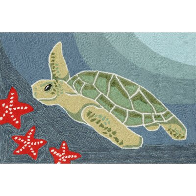 Zilla� Blue Ocean Sea Turtle Indoor/Outdoor Area Rug Rug Size: 2 x 3