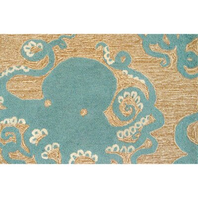 Zipporah Octopus Hand-Tufted Teal Blue Indoor/Outdoor Area Rug Rug Size: 18 x 26