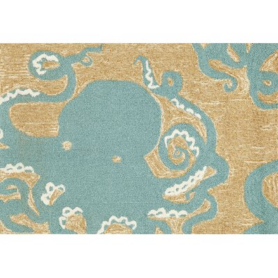 Zipporah Octopus Hand-Tufted Teal Blue Indoor/Outdoor Area Rug Rug Size: 2' x 3'