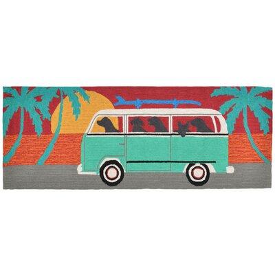 Shediac Beach Trip Turquoise Indoor/Outdoor Area Rug Rug Size: Runner 23 x 6