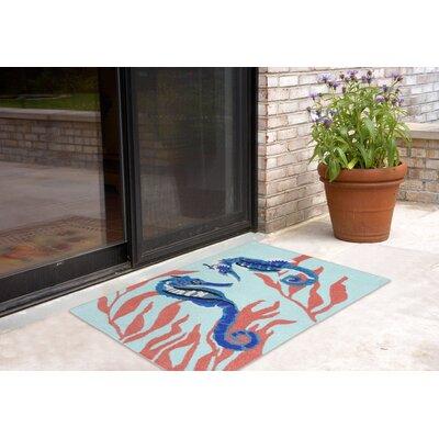 Shediac Seahorse Aqua Indoor/Outdoor Area Rug Rug Size: 26 x 4