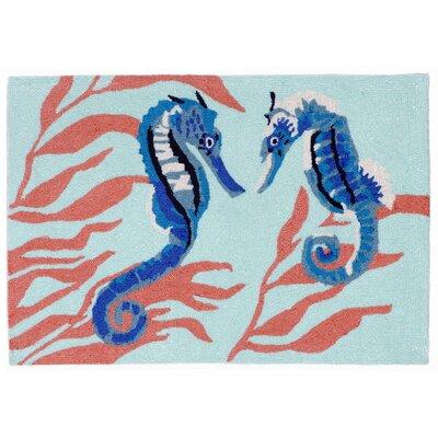 Shediac Seahorse Aqua Indoor/Outdoor Area Rug Rug Size: 2 x 3