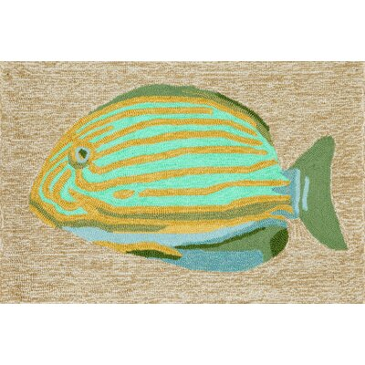 Shediac Striped Fish Neutral Indoor/Outdoor Area Rug Rug Size: 26 x 4