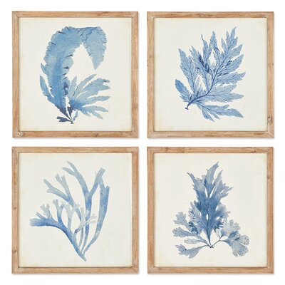 Coral Watercolor 4 Piece Framed Graphic Art Set