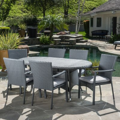 Brandon 7 Piece Dining Set with Cushions Finish: Gray