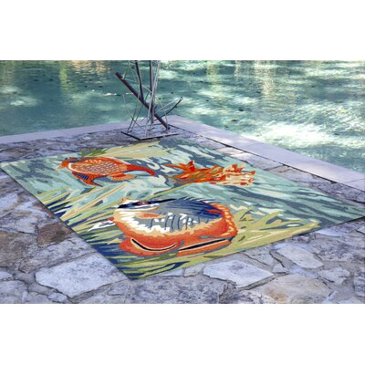 Clowers Tropical Hand-Tufted Blue Indoor/Outdoor Area Rug Rug Size: Round 5