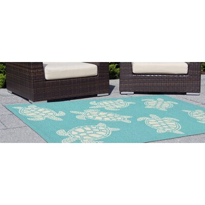 Claycomb Turtle Hand-Tufted Blue Indoor/Outdoor Area Rug
