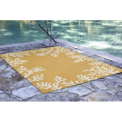 Claycomb Coral Border Hand-Tufted Yellow Indoor/Outdoor Area Rug